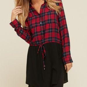 Tops - Red Plaid Long Hem Blouse/Dress